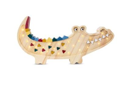 Little Lights nattlampa till barnrummet, trä krokodil