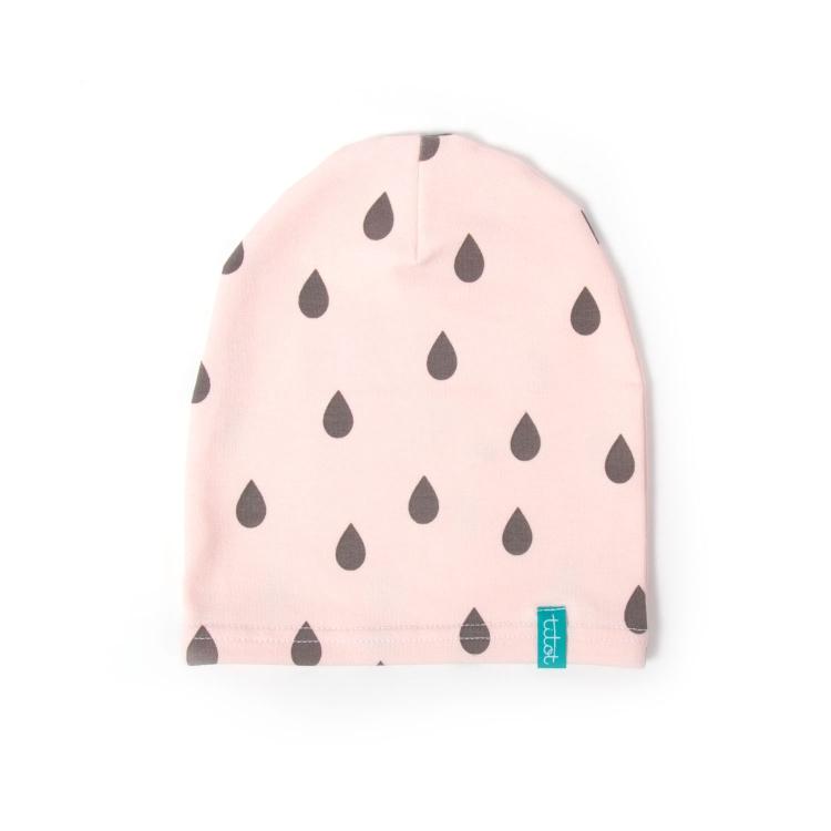 Barnmössa pink drops rosa barnmössa med droppar motiv på