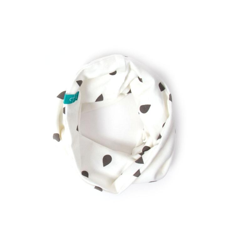 Barnhalsduk  ecru drops vit tubhalsduk baby med droppar