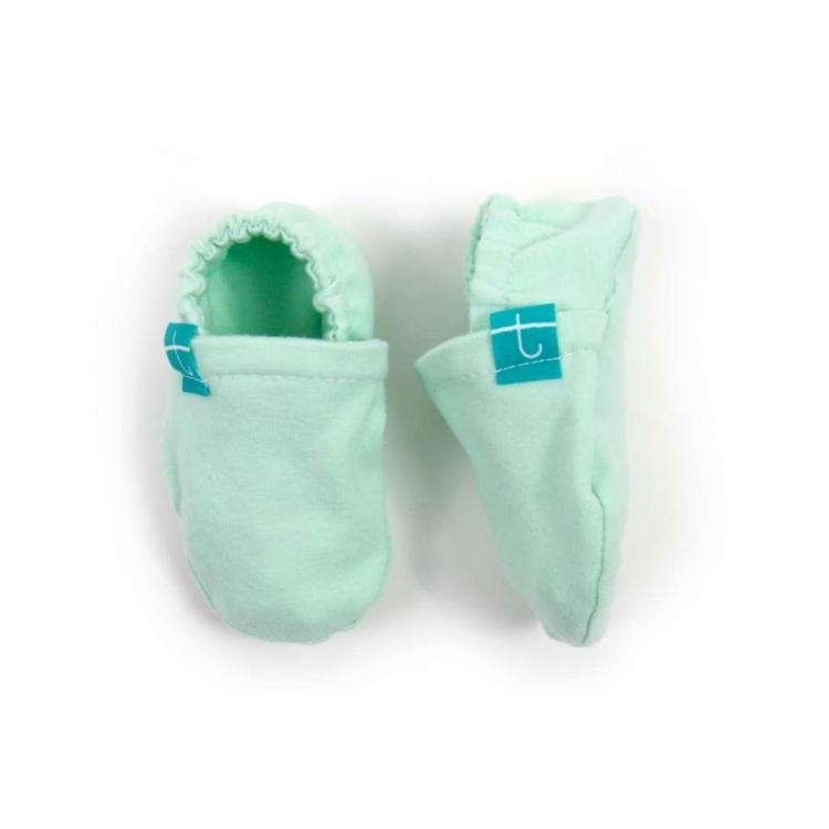 Mockasiner newborn mint barn färgglada mockasiner