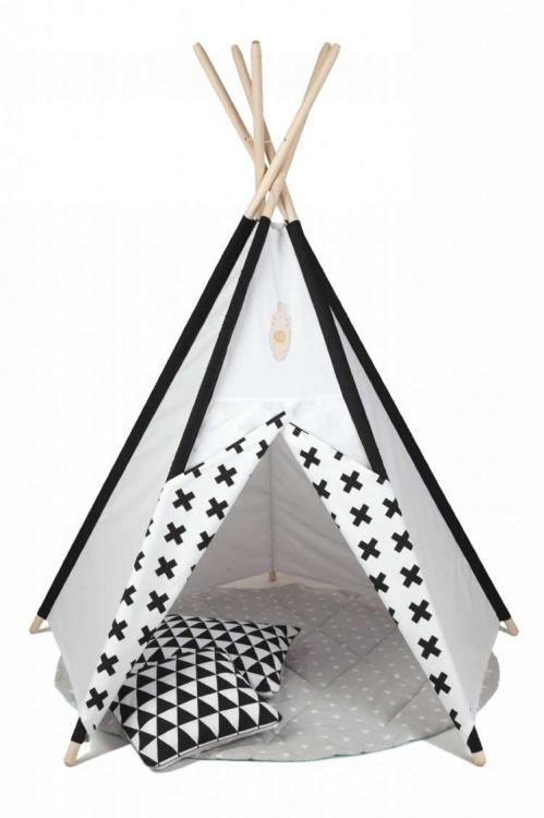 Lektält tipi- svart&vit, little nomad