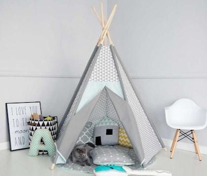 Lektält tipi - Grå trianglar i  mint - Little nomad