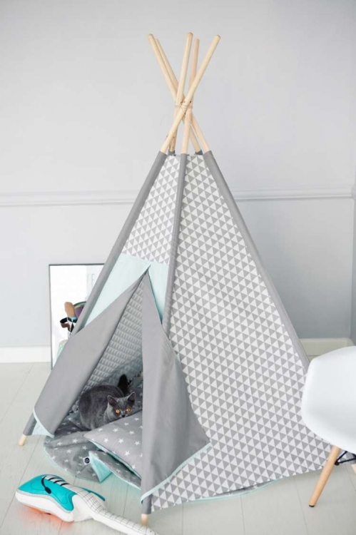 Lektält tipi - Grå trianglar i  mint - Little nomad