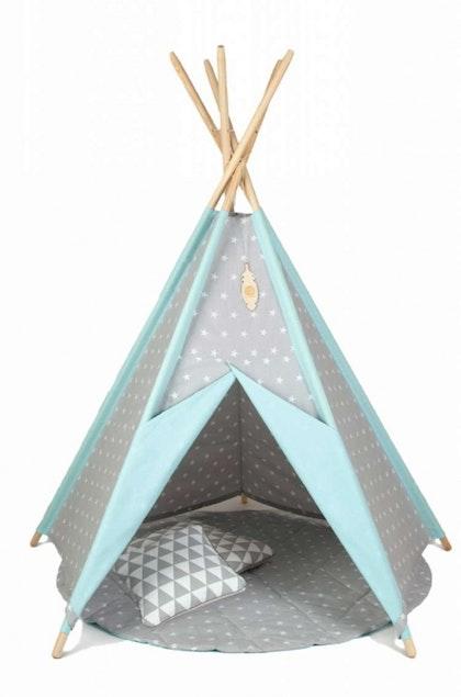 Lektält tipi- grå&mint stjärnor, little nomad
