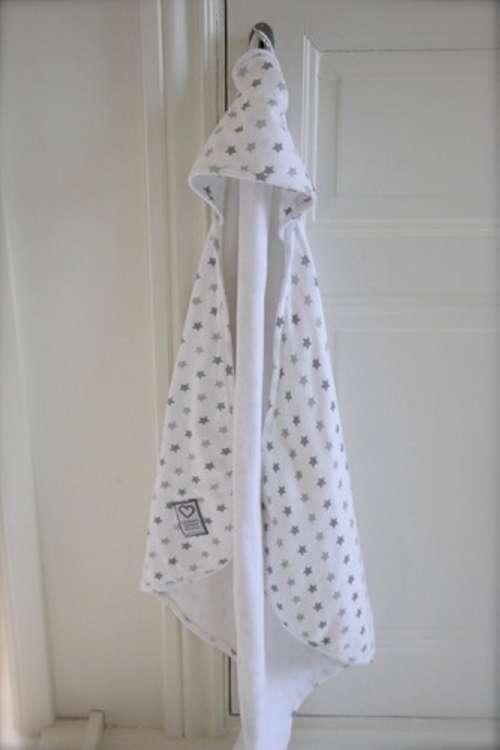 Handduk med huva, Little Heart, grå stjärna