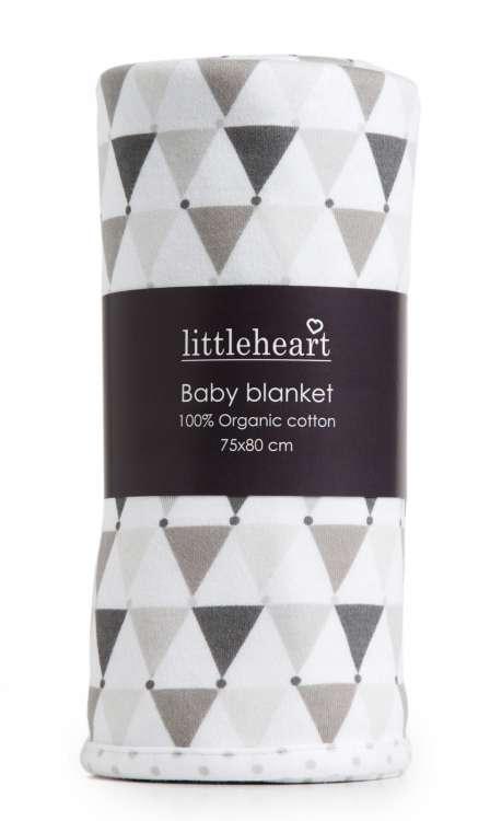 Barnfilt, Little Heart, grå confetti