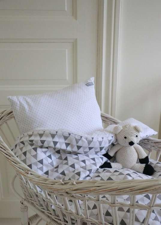 Barnsängkläder, Little Heart Bäddsett vagn grå confetti