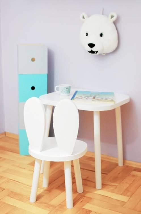 Möbelset för barn - Kaninstol och bord vit kaninstol och bord