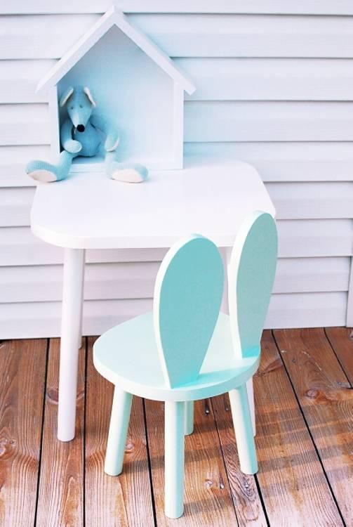 Möbelset för barn - Kaninstol och bord mint kaninstol och bord, möbelset för barn