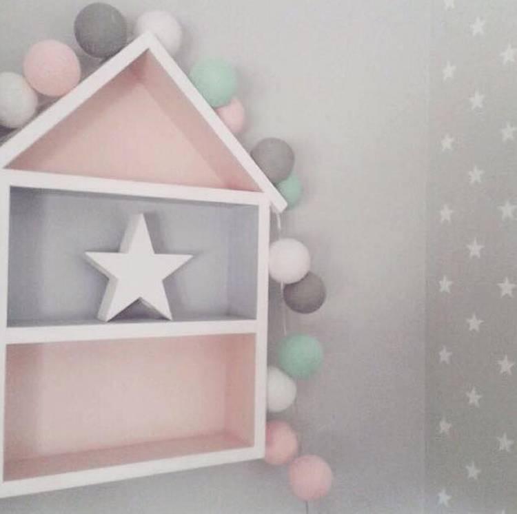 Hushylla rosa&grå, XL rosa grå hushylla barnrum