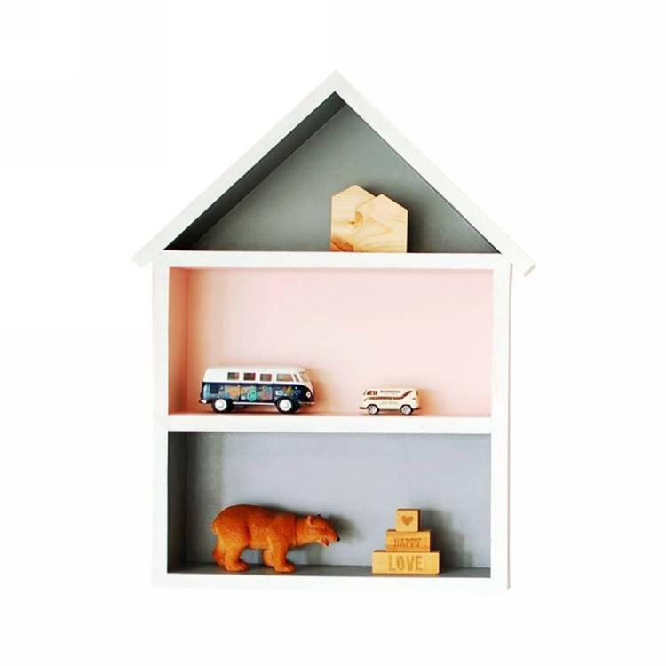 Hushylla grå&rosa, XL grå och rosa hushylla