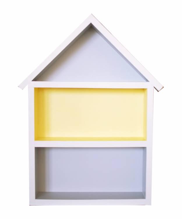 Hushylla grå&gul, XL grå och gul dockhus