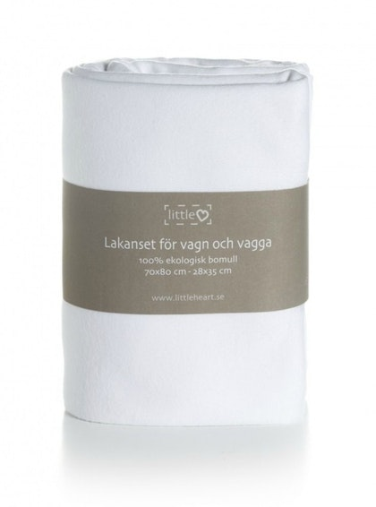 BÄDDSET VAGN & VAGGA  simply Basic White Little Heart