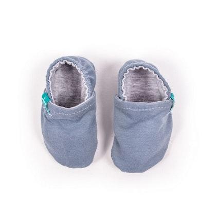 Newborn mockasiner blå organic