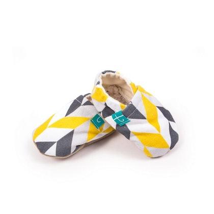 Mockasiner - tofflor för barn, svart&citron geometric
