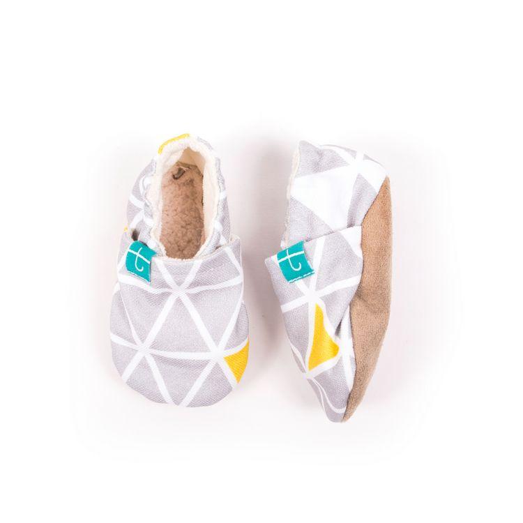 Mockasiner - tofflor för barn, grå&citron triangles