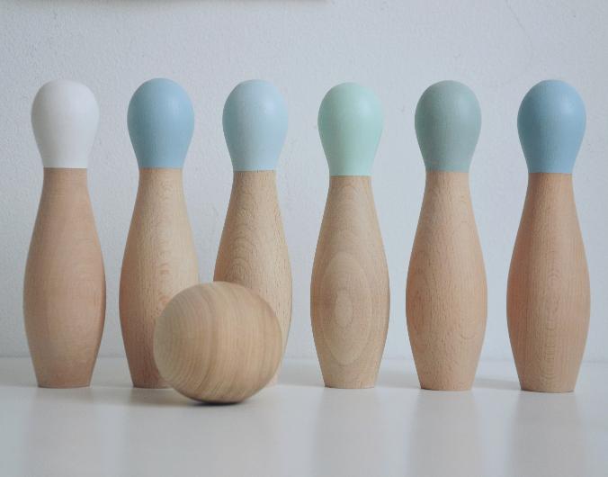Bowling Set i trä- mint Bowling Set i trä- mint