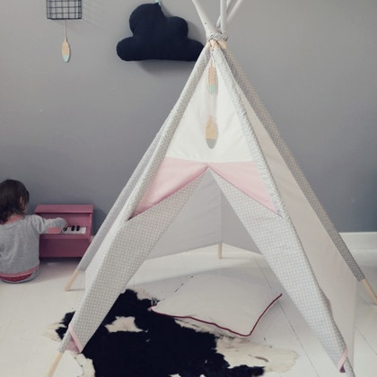 Lektält tipi - grå&rosa prickar, little nomad