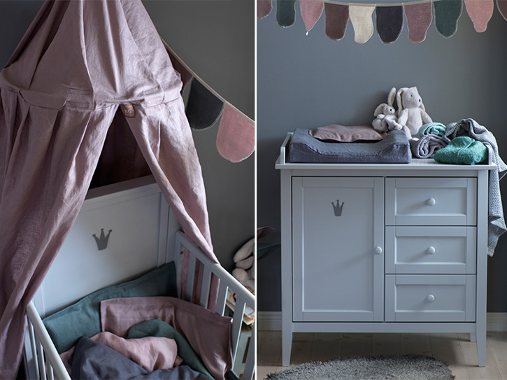 Rosa sänghimmel till barnrum från NG Baby Mood med ljusslinga