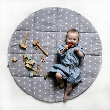 Lektält matta, lekmatta grå hjul, little nomad
