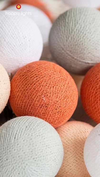 Happy Lights Youssef 20 ljusbollar (ljus grå, orange, vit, beige)