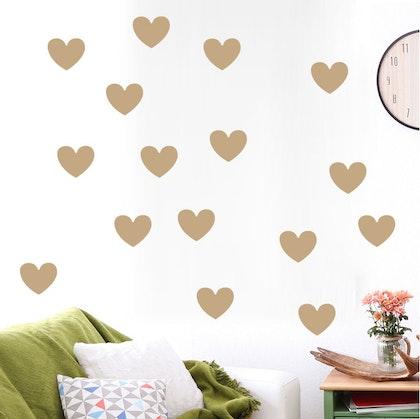 Väggklistermärken guld hjärtan 45 st