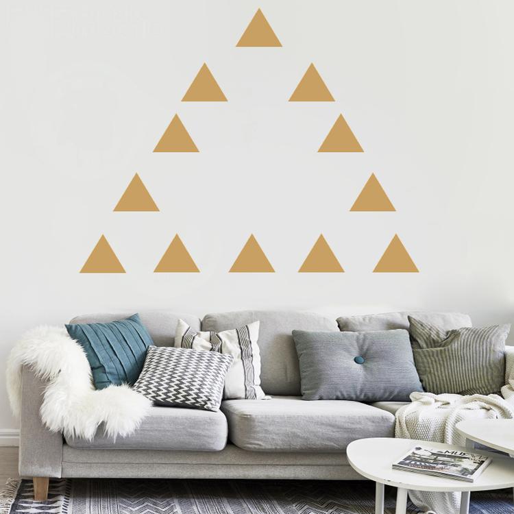 Väggklistermärken guld trianglar 198 st