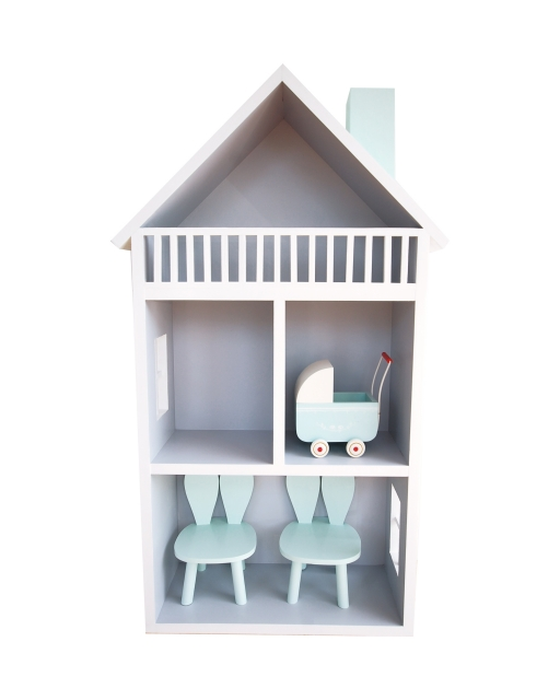 Dockhus handbyggt i trä trä dockhus med kaninstolar