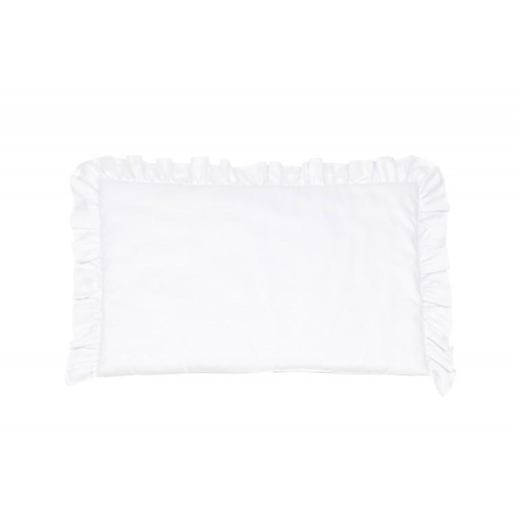 Vit bäddset spjälsäng med kudde och täcke med volang, Cotton and Sweets vit kudde med volang