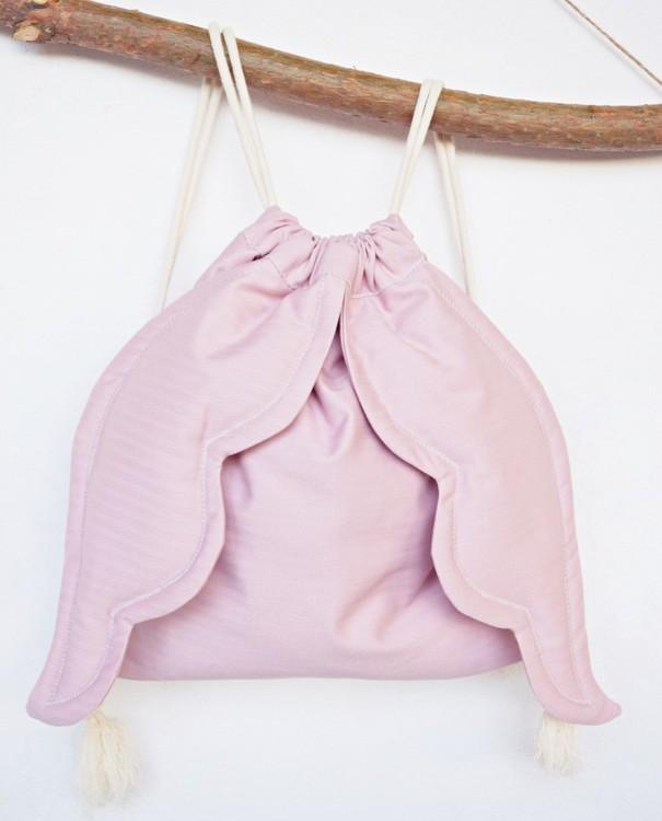 Pudderrosa ryggsäck änglavingar ryggsäcken för flickor