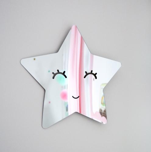 Stjärna med ögon spegel, silver barnspegel till barnrummet silver spegel i form av en stjärna