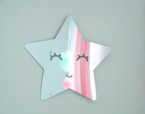 Spegel silver stjärna med ögonfransar barnspegel stjärna