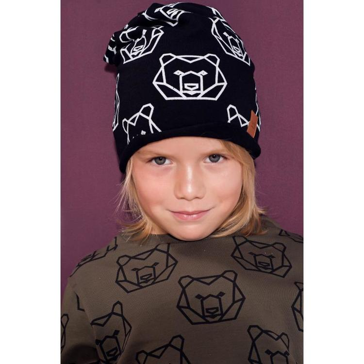 Mössa svart björn, Mamatu barnmössa smed svart björn motiv