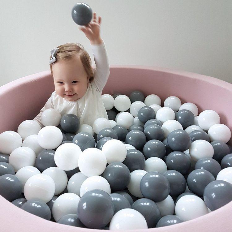 Rosa bollhav med 200 plastbollar, Misioo en rosa lekpol för barn
