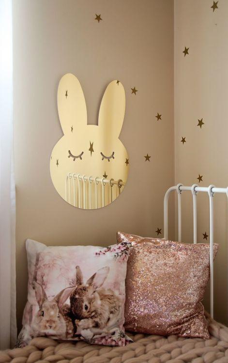 Kanin Spegel guld, Barnspegel till barnrummet guld kaninspegel