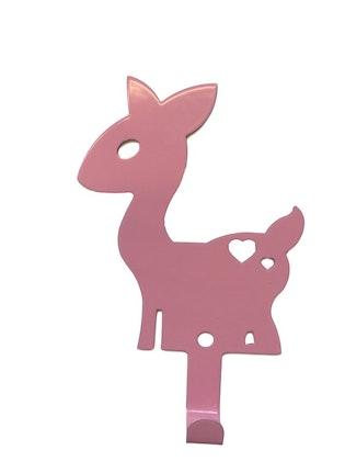 Vägghängare i metall till barnrummet, rosa hjort