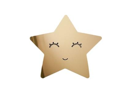 Spegel stjärna med ögonfransar, guld barnspegel till barnrummet