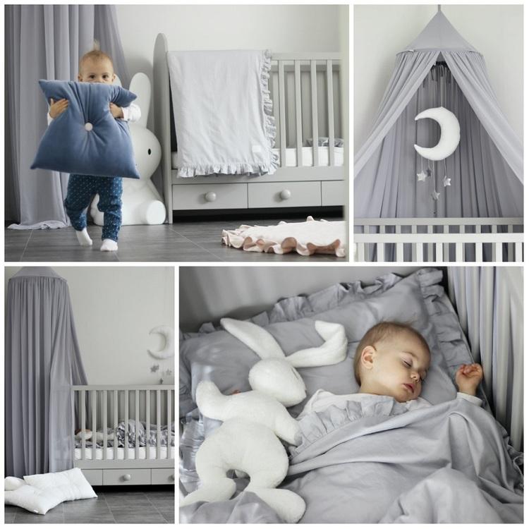 Grå newborn bäddset med kudde och täcke vagga,  Cotton and Sweets