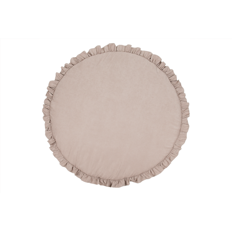 Mörkbeige lekmatta DeLuxe med volang, Cotton&Sweets