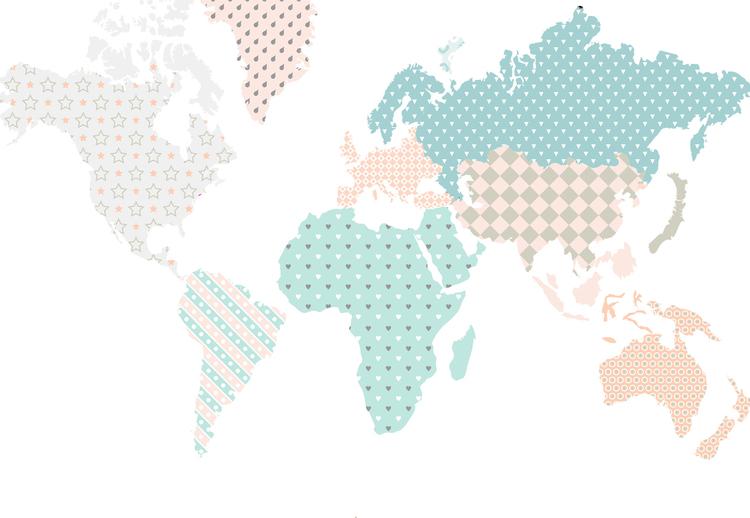 Väggklistermärke världskarta mint, Dekornik Väggklistermärke karta barnrum