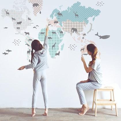 Väggklistermärke världskarta mint, Dekornik