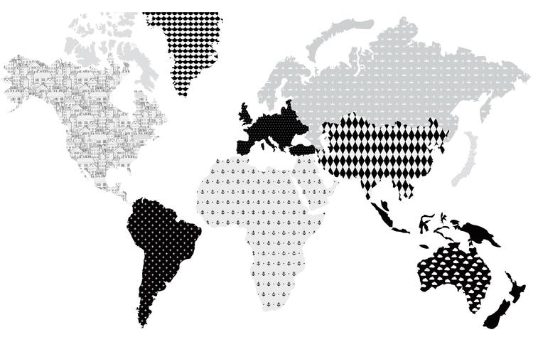 Väggklistermärke världskarta svart, Dekornik