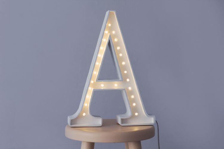 Nattlampa till barnrummet bokstav A - lampa, Little Lights