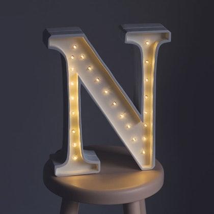 Nattlampa till barnrummet bokstav N - lampa, Little Lights
