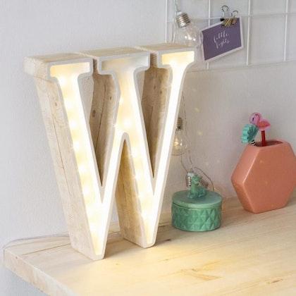 Nattlampa till barnrummet bokstav W - lampa, Little Lights
