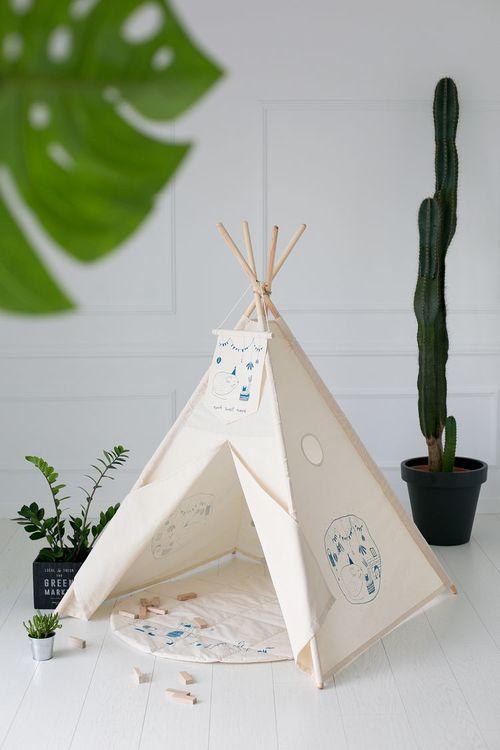 Lektält matta, lekmatta beige hjul, little nomad