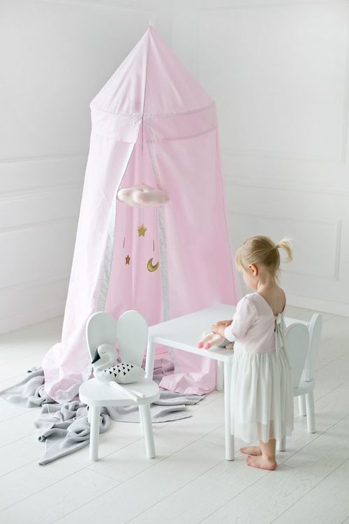 Rosa sänghimmel med ljusslinga ,  Little Nomad