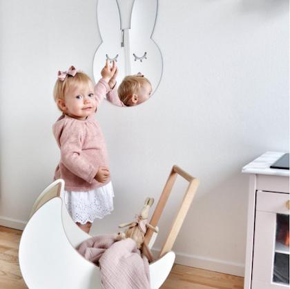 Kanin Spegel silver - Barnspegel till barnrummet