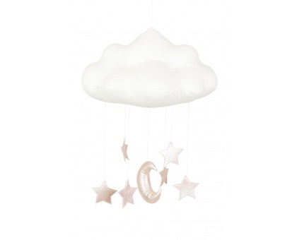 Sängmobil vit moln med rosa stjärnor, Cotton & Sweets