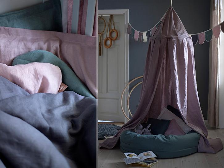 Dusty Pink sänghimmel till barnrum från NG Baby Mood med ljusslinga